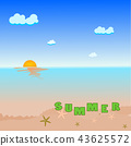 summer holiday text on sea beach illustration  43625572