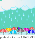 cloud and raining with colorful umbrella 43625593