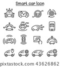 Smart car icons set in thin line style 43626862