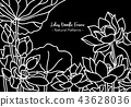 Doodle Lotus flower horizontal background,nature 43628036