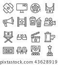 Gray line movies vector illustration icons set 43628919