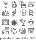 Vector line bar and pub icons set 43628921