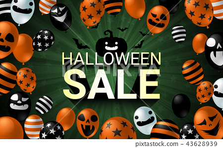 Halloween Sale banner with scary balloon design 43628939