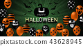 Happy Halloween banner with scary balloon design 43628945