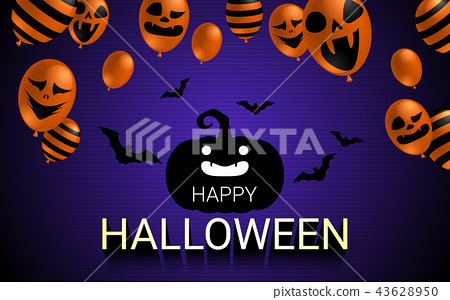 Happy Halloween banner with scary balloon design 43628950