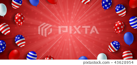 American flag balloon background poster banner 43628954