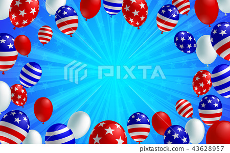 American flag balloon background poster banner 43628957