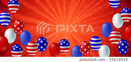 American flag balloon background poster banner 43628959