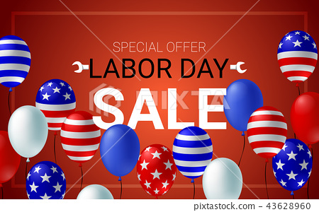 Labor day Sale American flag balloon poster 43628960