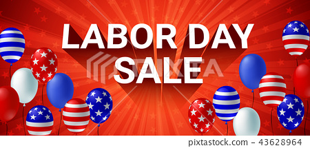Labor day Sale American flag balloon poster 43628964