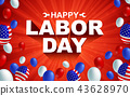 Happy Labor day American flag balloon poster 43628970