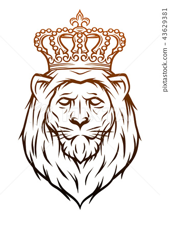 King Lion Heraldic Symbol Stock Illustration 43629381