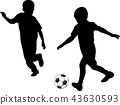 kids playing soccer silhouettes 43630593
