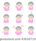 Granny with different emotions cartoon vector. 43630719