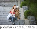女孩,狗,小狗,宠物,金毛猎犬 43630743