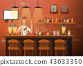 Vector banner of interior with bar counter, bar chairs and shelves with alcohol. Bartender at the 43633350