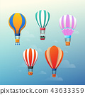 Vector illustration of colorful hot air balloons on the blue sky 43633359