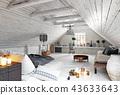 bedroom, attic, interior 43633643