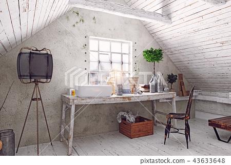 attic bathroom interior. 43633648