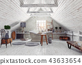 attic bathroom interior. 43633654