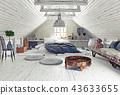 bedroom, attic, interior 43633655