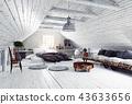 bedroom, attic, interior 43633656