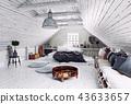 bedroom, attic, interior 43633657