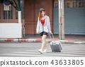 Asian women tourist traveler walking on Crosswalk 43633805