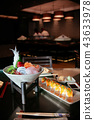 Japanese fresh Sushi, Sashimi and Maki on table 43633978