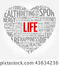 LIFE heart word cloud, fitness 43634236