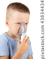 the child breathes through a mask of inhalation 43634434