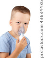the child breathes through a mask of inhalation 43634436