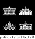 Set of Houses Isolated on Black Background 43634536