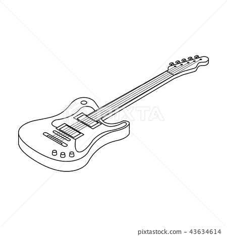 Electric guitar icon in outline style isolated on white background. Musical instruments symbol stock 43634614