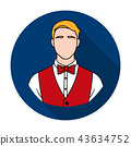 Restaurant waiter with a bow tie icon in flat style isolated on white background. Restaurant symbol 43634752