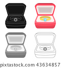 Wedding ring with a diamond in a box. Gift to the bride.Wedding single icon in cartoon style vector 43634857