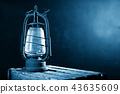 Old Rusty Lantern on the Wooden Desk in the Attic 43635609