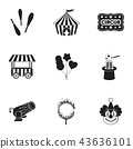Circus set icons in black style. Big collection of circus vector symbol stock illustration 43636101