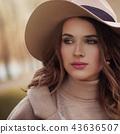 Closeup portrait of young beautiful woman face 43636507