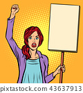 pop art Woman protesting with a poster. Political activist at th 43637913