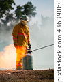 Firefighter with fire and suit for protect fire. 43639060