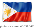 Philippines flag isolated on white 43639647