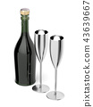 Pair of champagne flutes and bottle 43639667