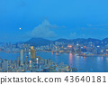 a Skyline of Hong Kong at night with the moon 43640181