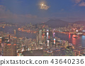 a Skyline of Hong Kong at night with the moon 43640236