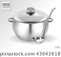 Saucepan and ladle. from stainless steel. on a transparent background. Realistic vector, 3d 43642618