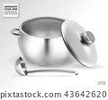 Saucepan and ladle. from stainless steel. on a transparent background. Realistic vector, 3d 43642620
