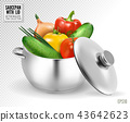 Big red pot for soup with vegetables. Realistic vector, 3d illustration 43642623