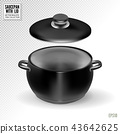 Black saucepan with lid on transparent background. Realistic vector, 3d illustration 43642625