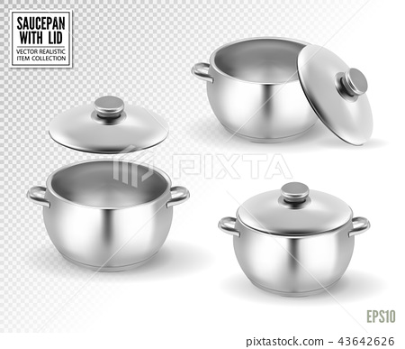Set of saucepans with lid. Realistic vector, 3d illustration 43642626
